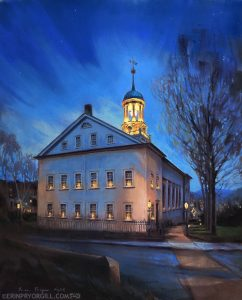 Pastel nocturne painting of historic church building in Bethlehem, PA, with candles in the windows and cupola glowing with light against dark blue sky.