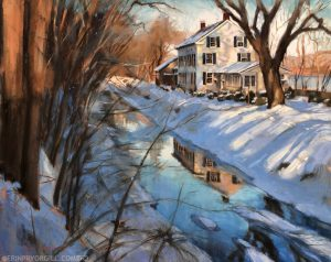 Pastel landscape painting of a cream colored house reflected in the Delaware Canal, with the Delaware River in the background, snow on the ground, and evening light on the trees.