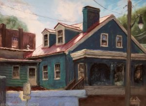 Pastel painting of dark teal building with red metal roof and dormer windows, in Historic Ellicott City, Maryland, in late afternoon light.