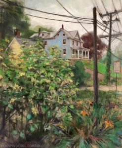 Pastel landscape painting of a pale blue house on a hill above a street in Ellicott City, Maryland. Power lines and rainy skies contrast with bright greens of grass and orange lilies in foreground.