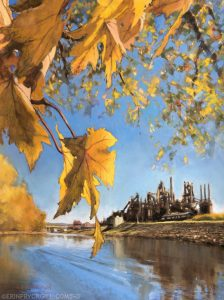 Pastel landscape painting of the Bethlehem Steel Stacks across the Lehigh River and reflected in it. Bright yellow autumn leaves in the foreground pop against the blue sky.